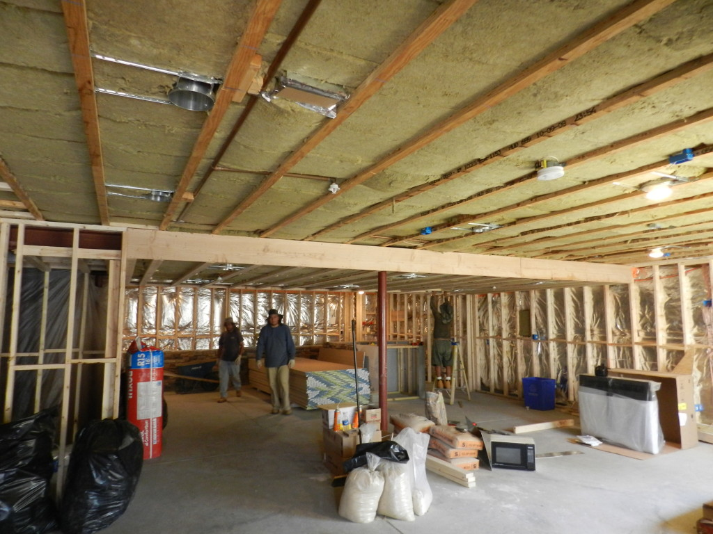 Ceiling has acoustical insulation installed